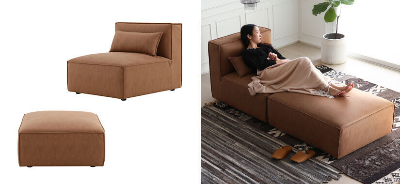 1 Seater and an Ottoman combines to form a chaise
