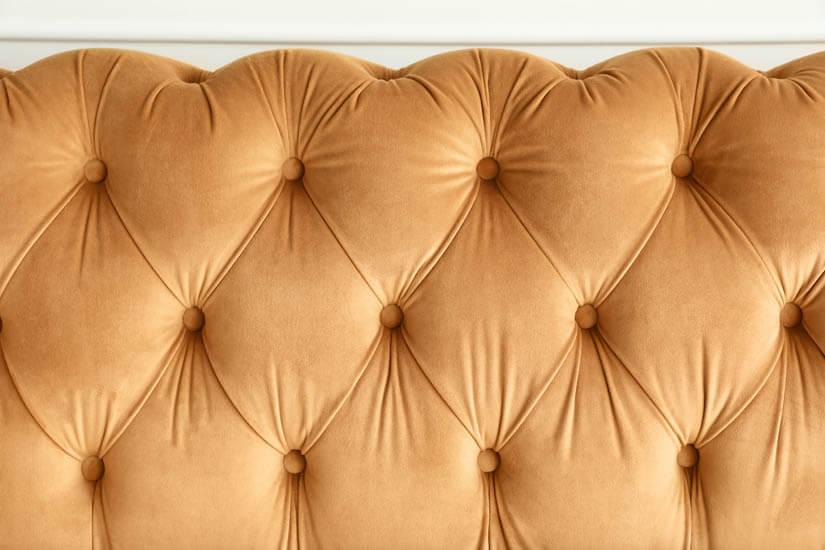 Velvet upholstery. Soft to touch. Subtle sheen.