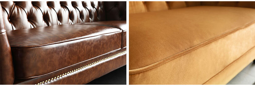 Available in 2 upholsteries - PU Leather & Almond Velvet.