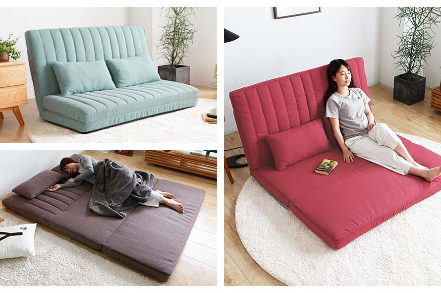 Blue Rocot Sofa Bed in sofa position