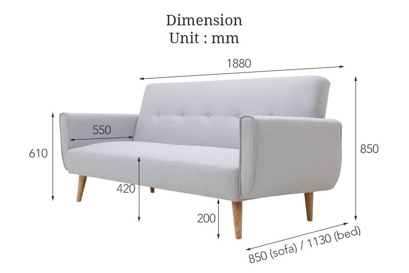 The dimensions of Rayne Sofa Bed. Shop high quality living room furniture and sofa beds online in Singapore (SG).