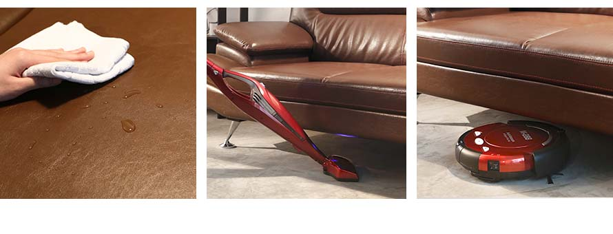 The leather is easily cleaned with a damp cloth. The tall slanted metallic legs of 15cm makes it easy to vacuum or use a robotic floor cleaner.
