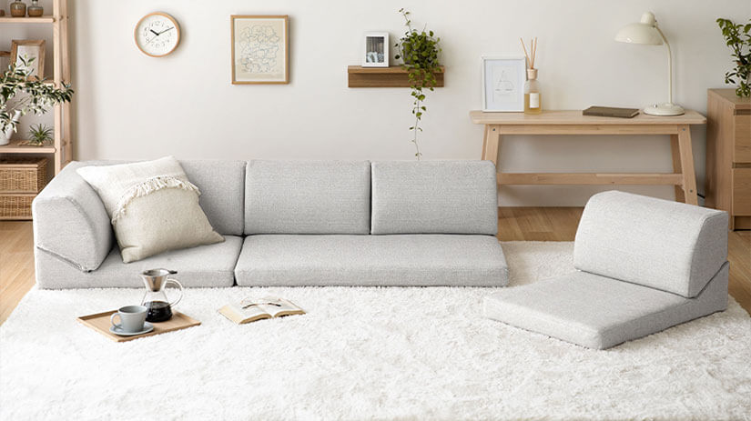 A floor sofa with low height