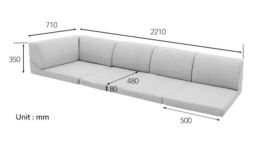 The dimensions of the Rouen Floor Sofa exclusively available at bedandbasics.sg.