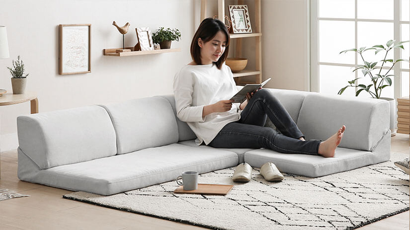 Fitting right into the corner spaces of your house, this is a space-saving style that also provides maximum comfort. Enjoy reclining on your sofa with your legs well-rested on its cushions.