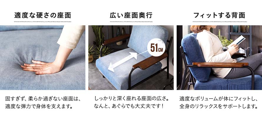 Right seat cushioning firmness. 51cm seat depth.Seat comfortably