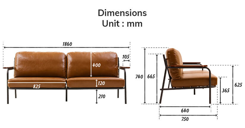 The dimensions of the Sanctum Soft Leather Sofa (3 Seater).