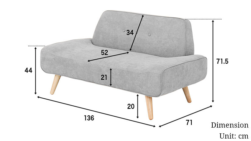 The dimensions of the Siena 2 seater sofa. Shop living room furniture and sofas online in Singapore (SG) today!