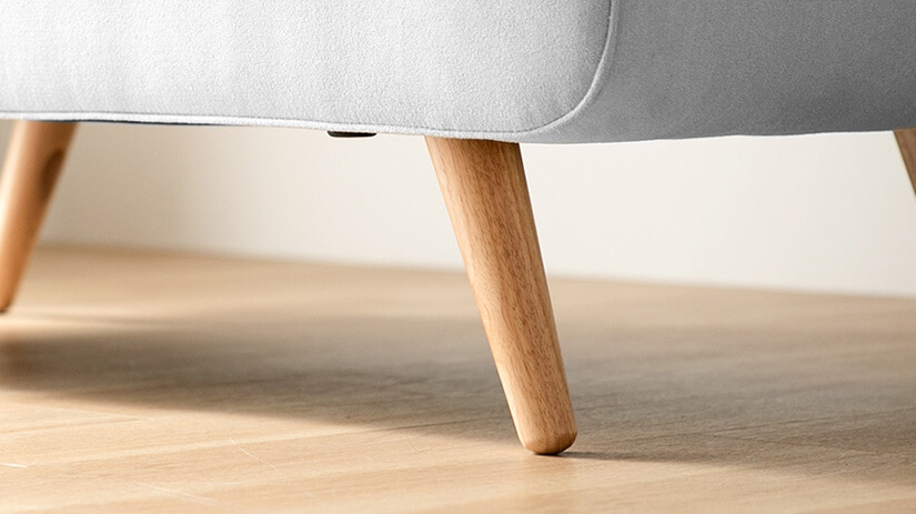 A lovely pairing with its grey upholstery. Durable and provides sturdy support. Subtle woodgrain texture.