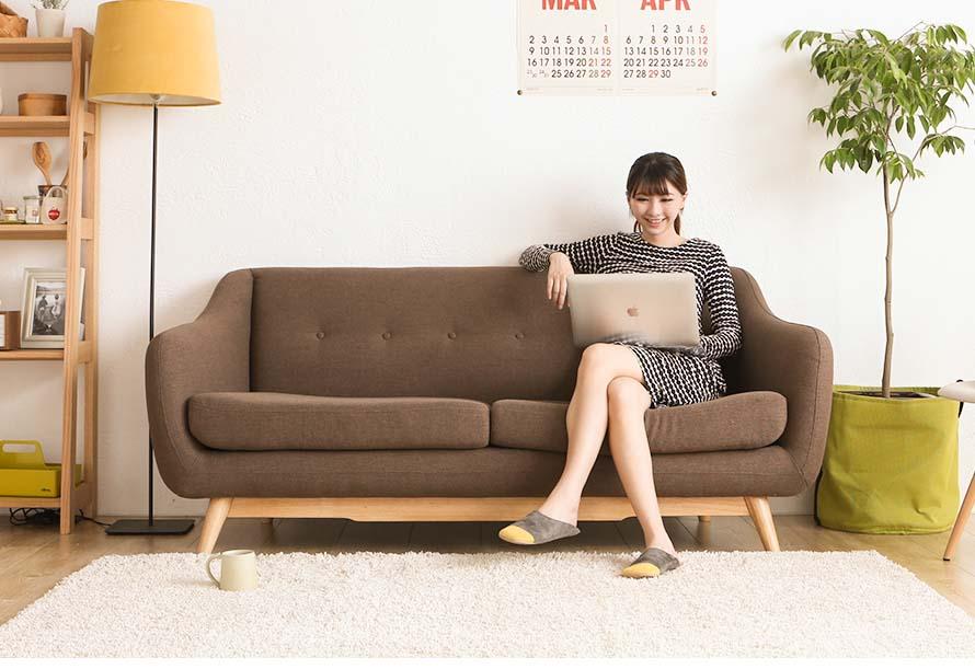 Brown Usagi Fabric Sofa in living room