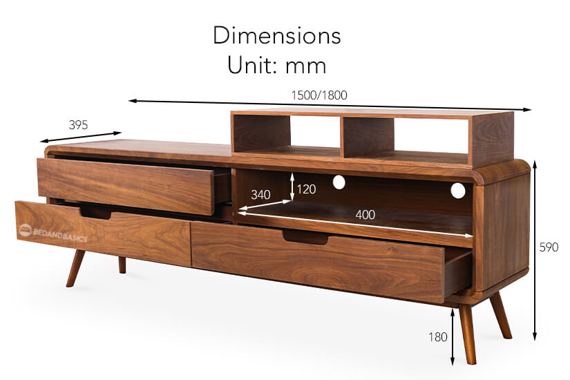 The overall dimensions of the Celino TV Stand.