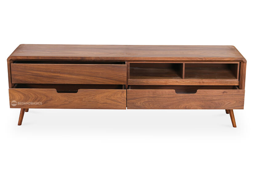 Flaunting great storage, the console comes with three spacious drawers as well as a detachable compartment that can be removed to make space for a roomy shelf.