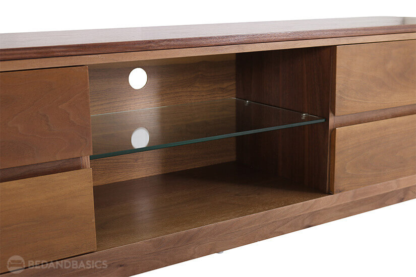 Spacious open shelf compartment for your players or game consoles.