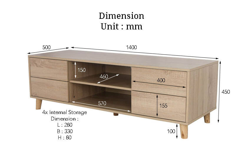 The Dimensions of the Latham TV Stand. Buy online the finest collection of living room furniture in SG.