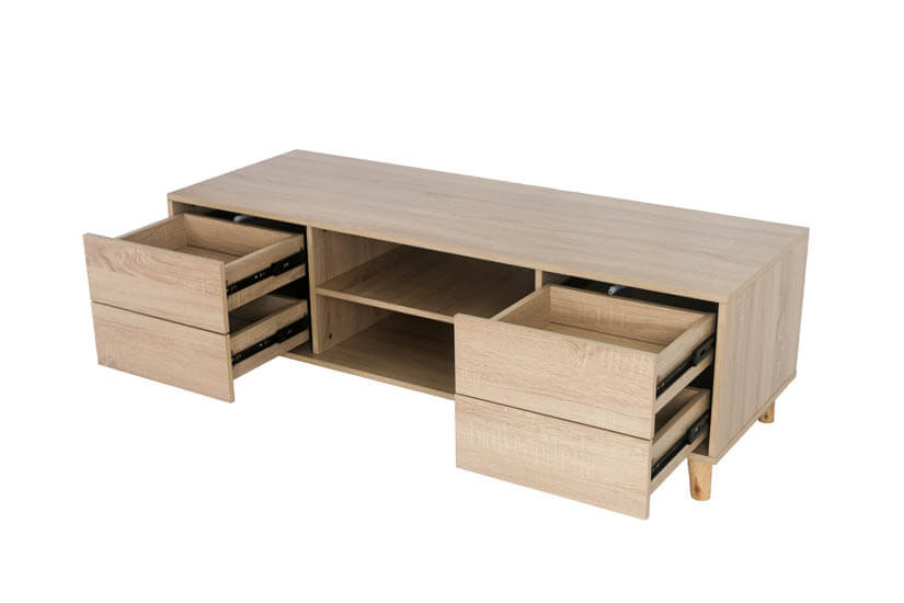 Stay organised and tuck your magazines, newspapers and remote control with four drawers storage space.