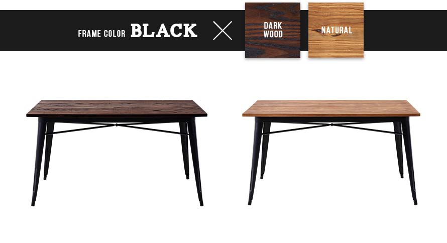 black frame x dark wood and natural wood