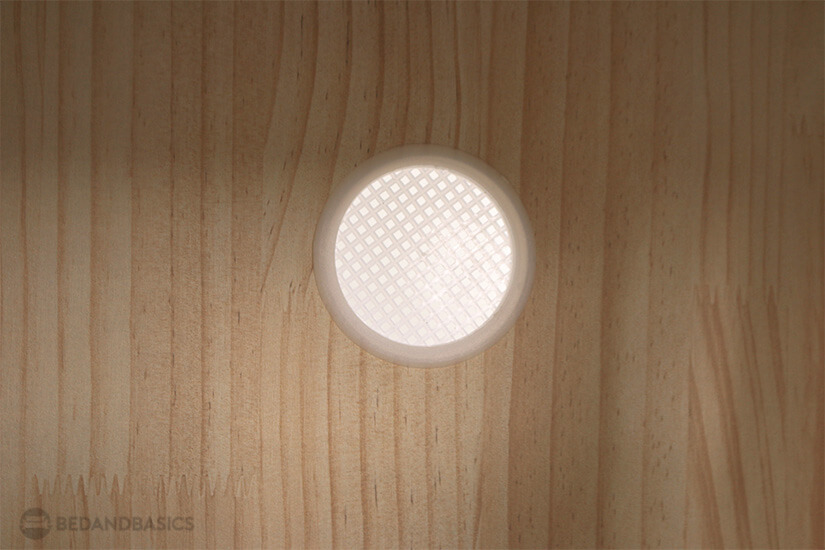 A non-intrusive hole is crafted in the cabinet to allow for better air circulation.