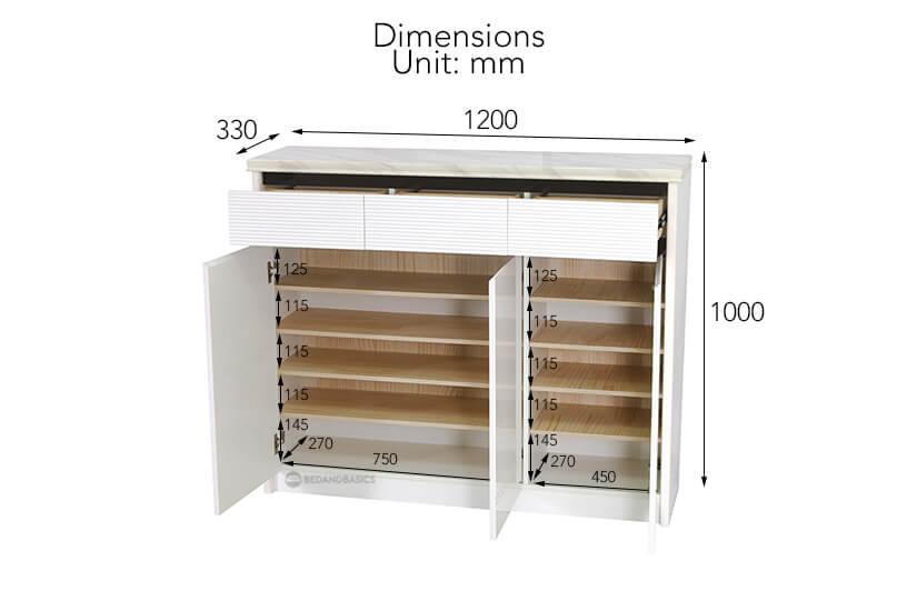 Bridgette Shoe Cabinet overall dimensions/