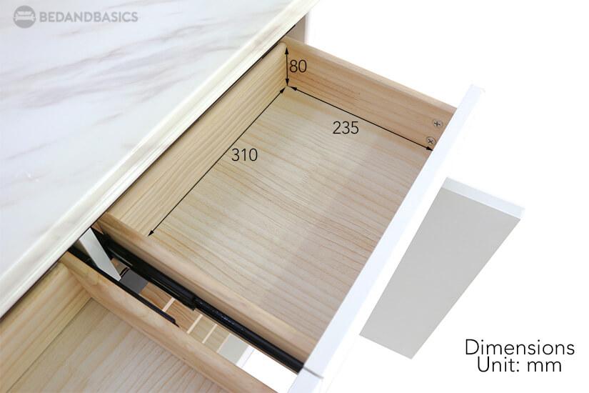 Bridgette Shoe Cabinet pullout drawer dimensions.