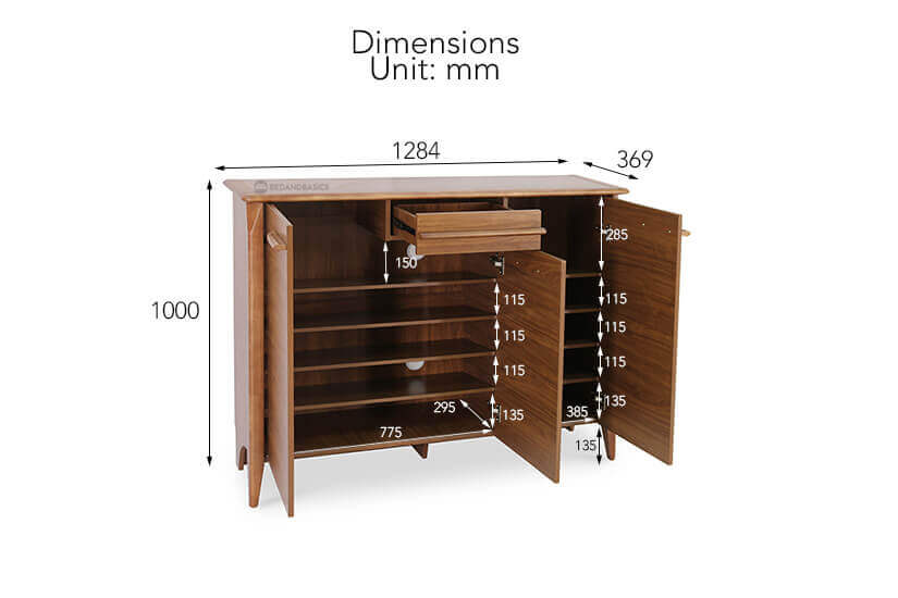 Darlene Shoe Cabinet overall dimensions.