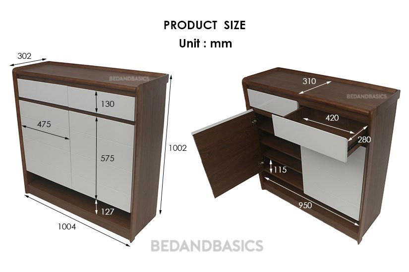 Dimensions of the shoe cabinet. Bedandbasics.sg is the best online furniture store in Singapore (SG).