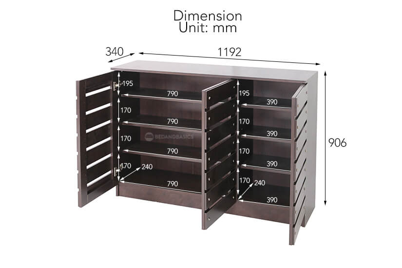 Gerard Shoe Cabinet overall dimensions.