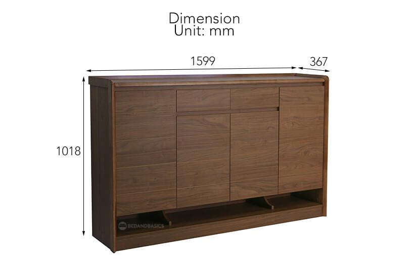 Gideon Shoe Cabinet II overall dimensions.
