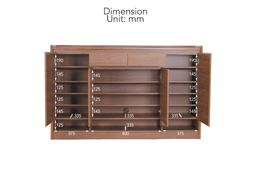 Gideon Shoe Cabinet II internal dimensions