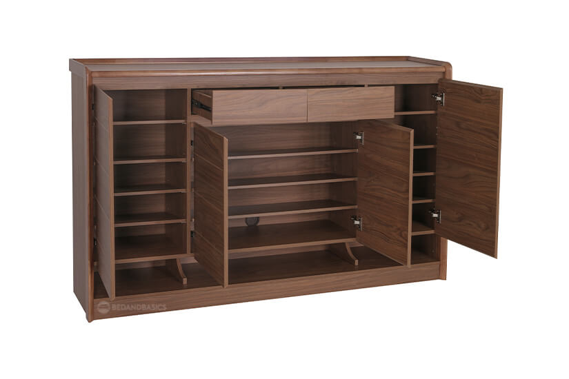 Two drawers and three compartments. Compartments open to fourteen shelves.