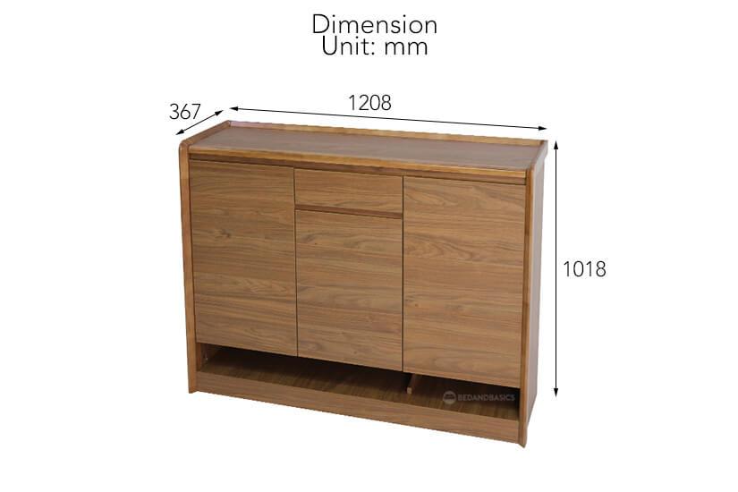 Gideon Shoe Cabinet external dimensions.
