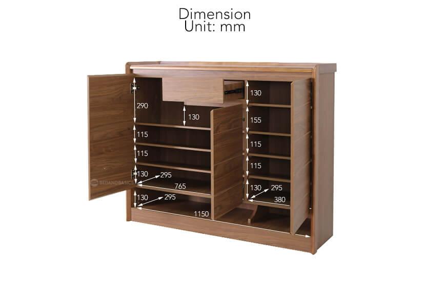 Gideon Shoe Cabinet internal dimensions.