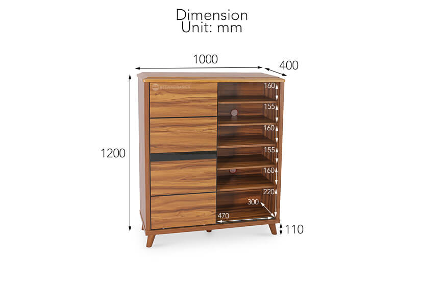 The dimensions of the Halrod Shoe Rack.