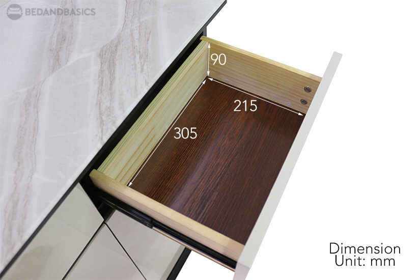Issie Shoe Cabinet pullout drawer dimensions.