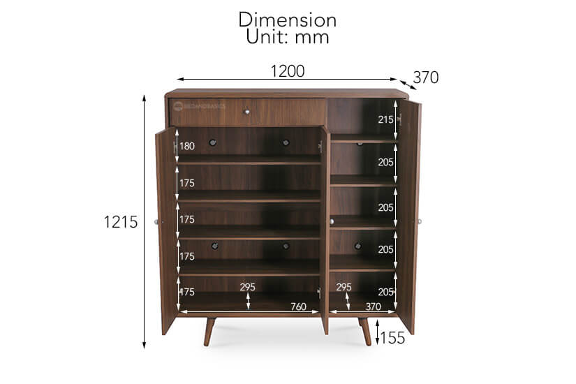 Kerry Morrison Shoe Cabinet III overall dimensions