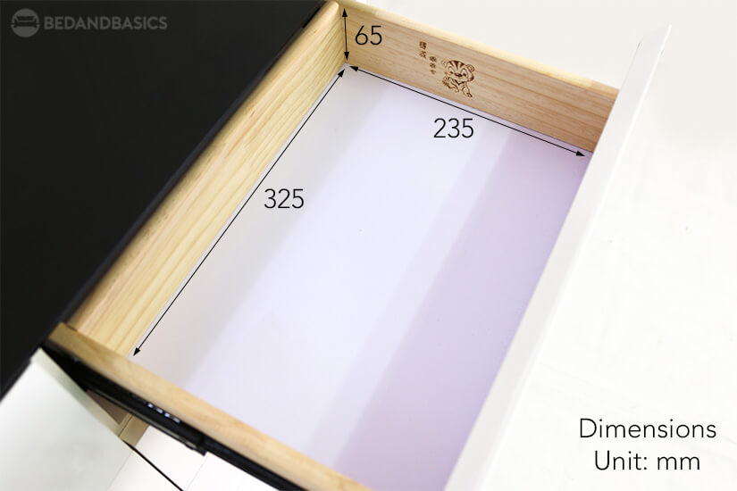 The pull-out drawer dimensions of the Lillie shoe cabinet.