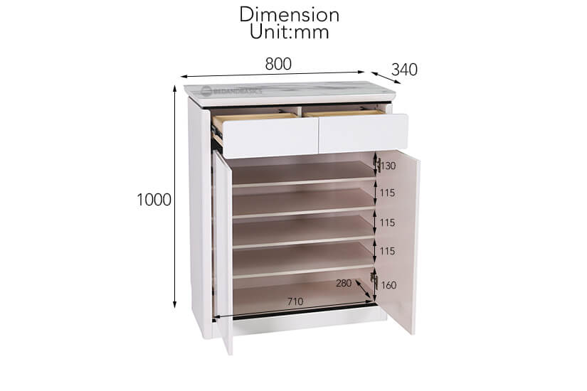 Luile Shoe Cabinet overall dimensions.