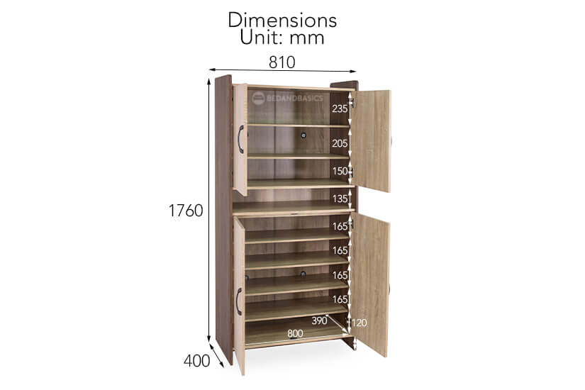Mildred Shoe Cabinet I overall dimensions.