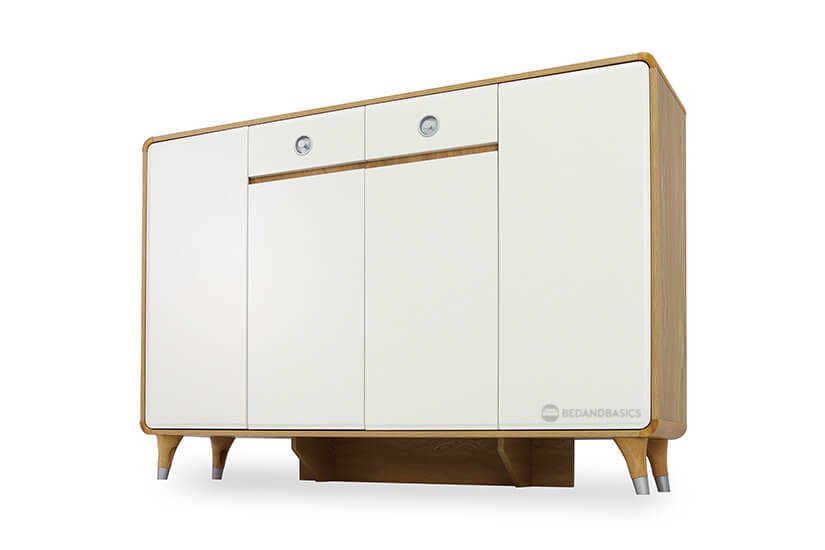 The cabinet is also supported by beams that are designed to support the weight of the shoe cabinet.