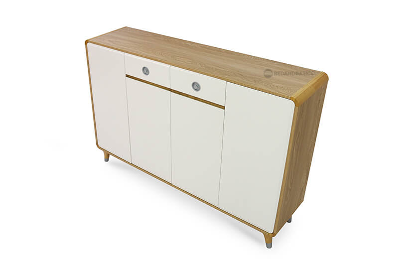 Wood swirls design frames the shoe cabinet and pairs beautifully with the white doors.