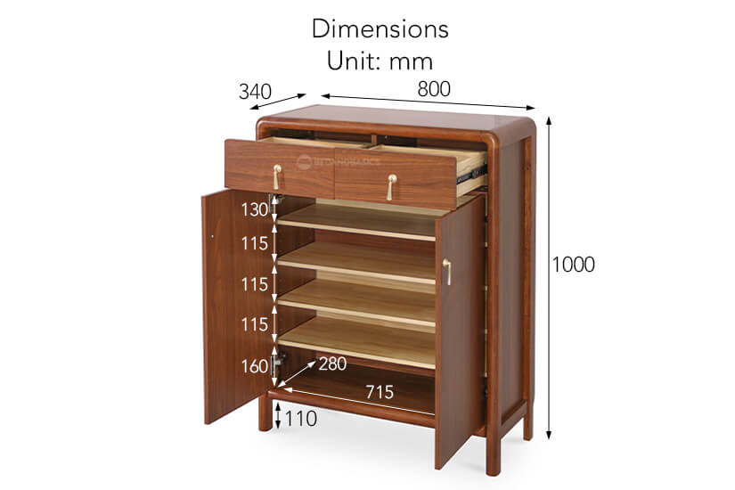 The overall dimensions of the Osbourne Shoe Cabinet.
