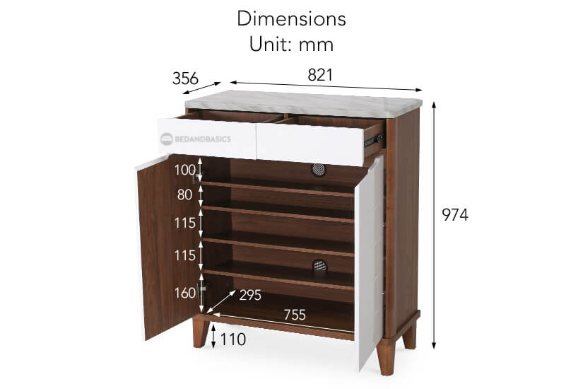 The overall dimensions of the Twyford Shoe Cabinet.