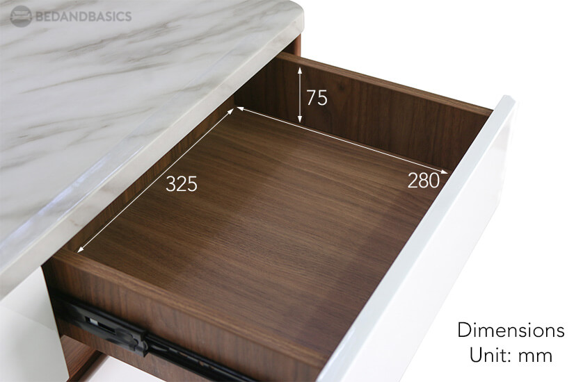 The pull-out drawer dimensions of the Twyford Shoe Cabinet available at Bedandbasics.sg.