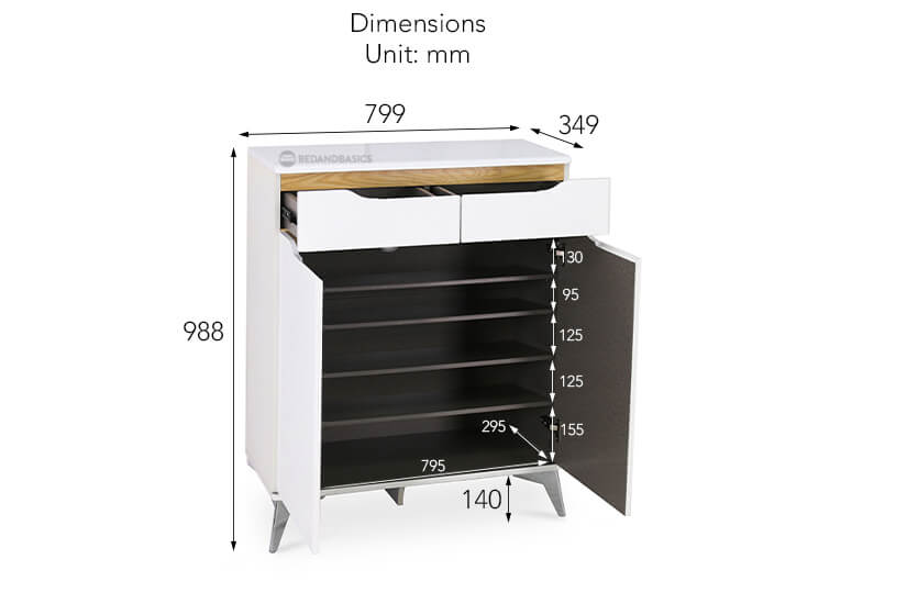 Wiley Cobb Shoe Cabinet overall dimensions.