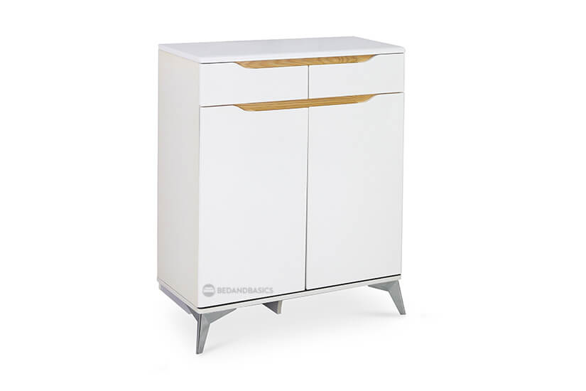 White exterior, silver coloured metal alloy legs. Perfect for any modern home.
