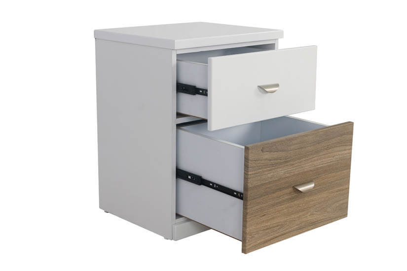 The side table has 2 large storage compartments to keep your living quarters neat and tidy.