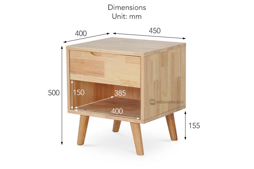 Olande Solid Wood Side Table overall dimensions.