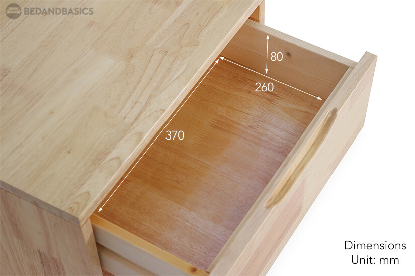 Olande Solid Wood Side Table pull-out drawer dimensions.