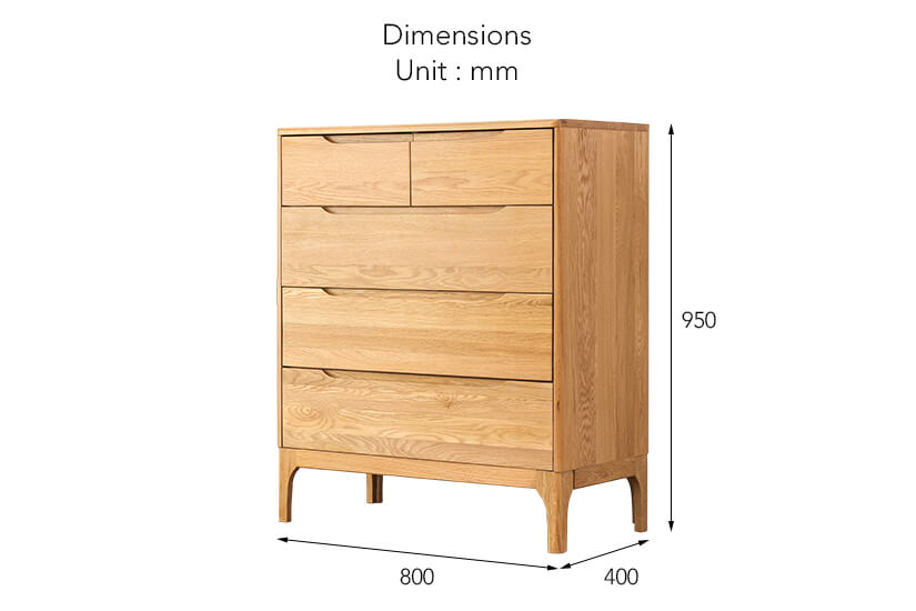 The dimensions of the Nara American Oak Wood 5 Drawer Chest.