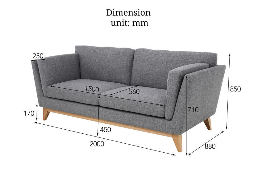 The dimensions of the Hansford 3-Seater fabric sofa exclusive to bedandbasics.sg. Shop living room furniture online in Singapore (SG) today!