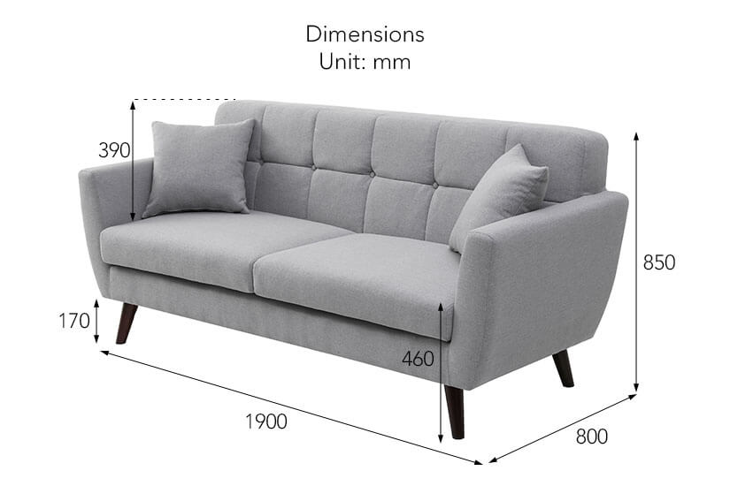 The dimensions of the Willow 3 Seater Sofa in light grey available online in Singapore (SG).